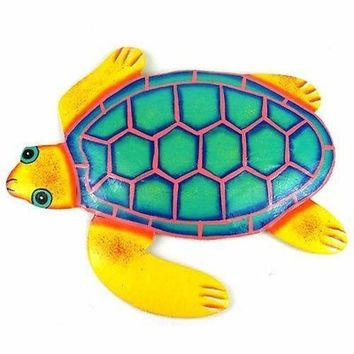 Hand Painted Metal Turtle Yellow and Teal Design - Caribbean Craft