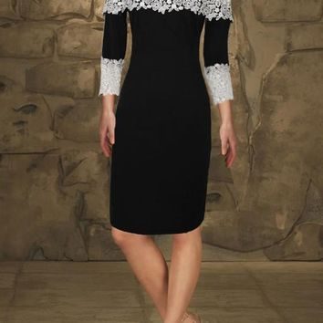 Black Patchwork Lace Off Shoulder 3/4 Sleeve Wedding Party Prom Midi Dress