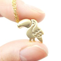 Toucan Bird Shaped Animal Themed Pendant Necklace in Gold | DOTOLY