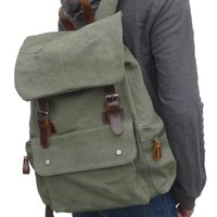 Gootium 30206AMG Canvas Genuine Leather BagPack,Army Green