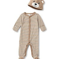 Starting Out Newborn-6 Months Bear Footed Coverall and Hat Set - Light