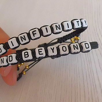To Infinity and Beyond Couples Bracelets Set of 2 Cotton wax braided Bracelets-- lovers bracelet-- Christmas gift -- friendship gift