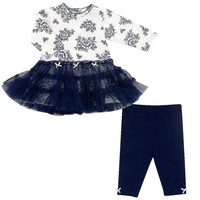 Little Me Girls Lush Rose Tutu Legging Set - Navy