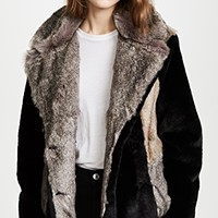Patched Faux Fur Jacket
