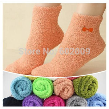 6 pairs=1 lot Winter Velvet Warm Women Socks Colorful Cute Kawaii  Bow Fuzzy Art  Casual Female Socks MF7596232