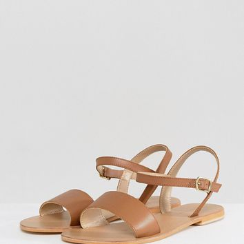 ASOS FLIQUEY Wide Fit Leather Flat Sandals at asos.com