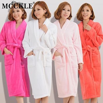 MCCKLE Women Men Flannel Bath Robe Sleepwear 2018 Autumn Winter 44fe8d2fc