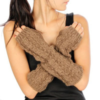 Knit Arm Warmers. Chestnut Brown Slouchy Arm Warmers. Gorgeous!