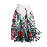 Vintage Chinese Style Floral Print Pleated Midi Skater Skirt For Women Girl One Size 14709