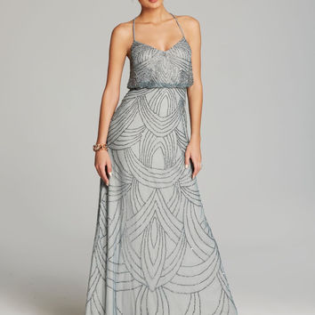 Adrianna Papell Beaded Chiffon Blouson Gown - Slate