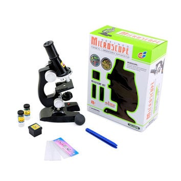 Education Toy Microscope Set Kids and Student Science Library Tools Boys and girls Black
