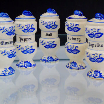 Blue Onion Spice Shakers Spice Containers  Salt Pepper Nutmeg Paprika Cinnamon Jars  Vintage Japan