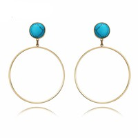 Light Gold Color Round Dangle Earrings Blue/White Simulated Turquoise Large Circle Bohemian Fashion Earrings