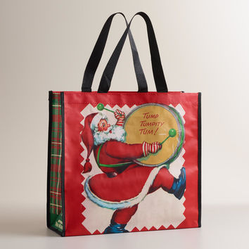 Drumming Santa Reusable Tote Bag - World Market