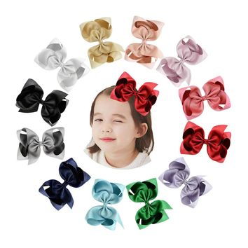 "12pcs/Lot 6"" Inch Grosgrain Alligator Solid Big Hair Bow Clips Pins Barrettes Accessories for Baby Toddler Girls Kids Children Women"