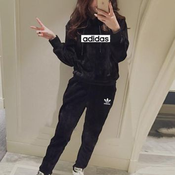 """ Adidas"" Women Casual Fashion Gold Velvet Letter Long Sleeve Hoodie Sweater Trousers Set Two-Piece Sportswear"