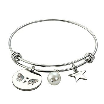 Meibai Semicolon Jewelry Stamped Charm Expandable Bracelet Bangle with Lucky Star Inspirational Gift