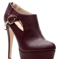 Burgundy Faux Leather Platform Ankle Booties