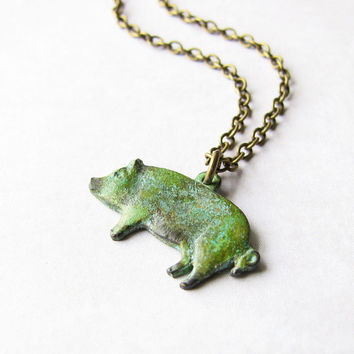 Pig Necklace, Green Patina Brass Charm - Pig Jewelry, Animal Jewelry, Farm, Country Jewelry