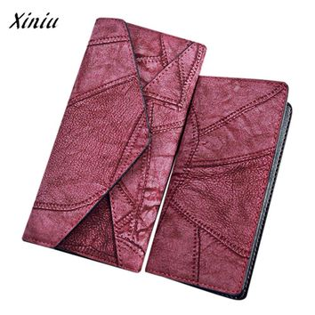 2PCS Women Wallet Sets Frosted Patchwork Leather Hasp Purse Card Holder Vintage Clutch Wallet Bag porte-monnaie femme #6024
