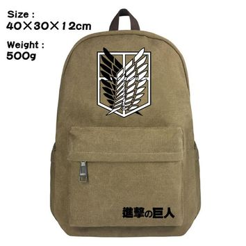 Cool Attack on Titan Anime  Scouting Legion Backpack Schoolbag Satchel Canvas Shoulder Laptop Bags For Fans Gift Double Zipper Mochila AT_90_11