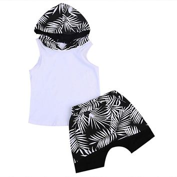 Newborn Kids Baby Boys Clothes Sleeveless Hoodie T-shirt Tops + Shorts Pants Outfits Set