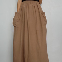 Women Maxi Long Skirt , Casual Gypsy, Bohemian , Cotton Blend In Khaki (Skirt *M4).