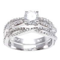 Sterling Essentials Silver Round CZ Intertwined Bridal-style Ring Set | Overstock.com Shopping - The Best Deals on Cubic Zirconia Rings