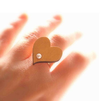 Golden Heart Ring - Offbeat Bridal Wedding Jewelry, Bridesmaid Gift - Wooden Ring with Mother of Pearl