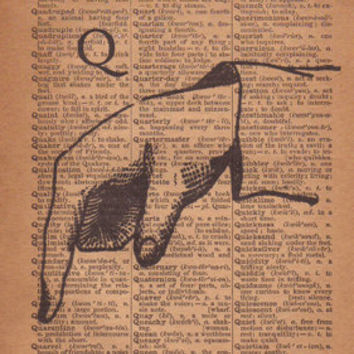 Letter Q, Dictionary Art Print, Sign Language Typography,  Wall Decor, 1800's Antique Page