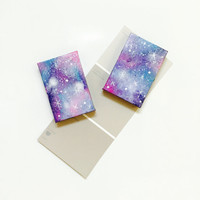 Galaxy Print Miniature Canvas Painting Magnet in Shades of Blue Purple and Pink Unique Gift Idea