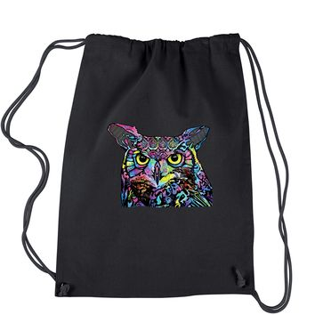 Neon Owl Drawstring Backpack