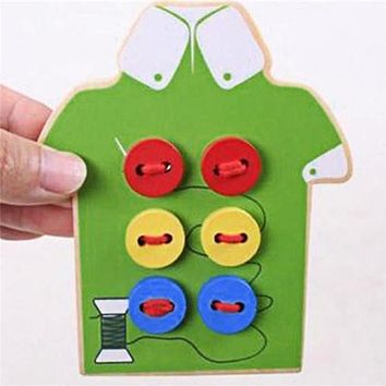 Montessori Educational Kids Toys Beads Lacing Board Wooden Toys Toddler Sew On Buttons Early Education Teaching Aids Puzzles