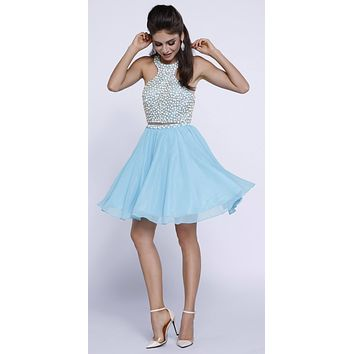 Open Back Two-Piece Halter Short Prom Dress Beaded Top Aqua