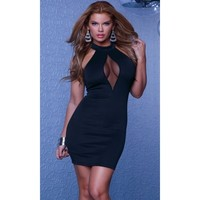 Halter Scuba Dress Wmesh Keyhole Chest Inset Black Xs