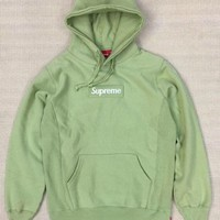 Supreme Black Box Logo Hoodie Green G