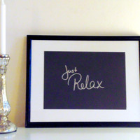 Just relax - silver on black - DIN A4 - Wall Art Print handmade written - original by misssfaith