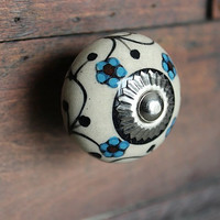 Drawer Knob / Cabinet Pull Ceramic Ball in Light Beige with Turquoise Flowers and Silver Hardware (CK05)