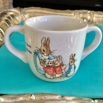 Peter Rabbit Baby Shower Gift, Peter Rabbit Baby Cup, Two Handles,  Vintage China, Wedgwood 1991, New Baby Gift, Blue Baby Gift