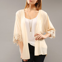 Crochet Sleeve Point Chiffon Open Cardigan