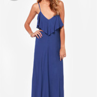 LULUS Exclusive Silent Lagoon Royal Blue Maxi Dress