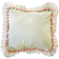 Roses for Bella Crib Bedding | Square Pillow with Pompoms