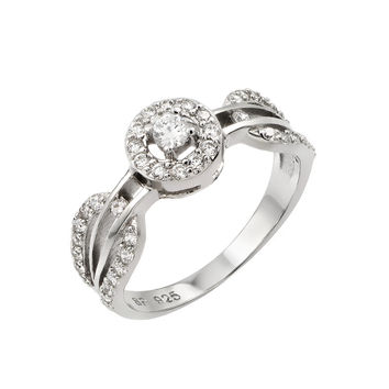 925 Sterling Silver Ladies Jewelry Ring w/ Looped Band Pave, And Small Center Stone.Ring Center Diameter Is 7.4mm  Come In Sizes Of 5, 6, 7, 8, And 9.: Size: 5