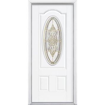 Masonite 36 in. x 80 in. New Haven Three Quarter Oval Lite Primed Smooth Fiberglass Prehung Front Door with Brickmold-14513 - The Home Depot
