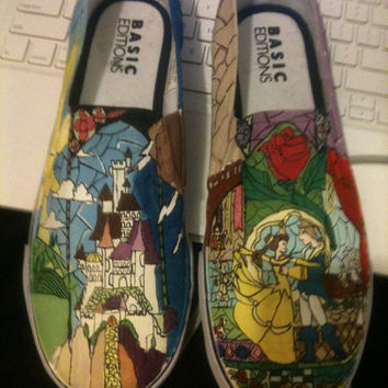 Beauty and the Beast custom made shoes by caitiebooshoes on Etsy