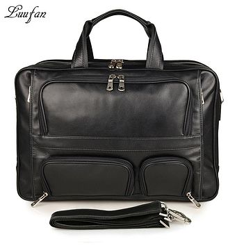 Men genuine leather briefcase fit Laptop Real leather Three zipper layer business bag cow leather shoulder bag Big work tote