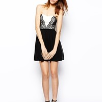 ASOS Lace Mix Bandeau Skater Dress - Black