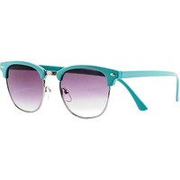 Aqua half frame retro sunglasses - retro sunglasses - sunglasses - women