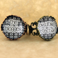 "SHERLOCK BBC ""Consulting Detective"" & ""The Blogger"" Friendship Rings, Vintage Style Filigree Sherlock Holmes,Fan Jewelry, Great Gift"