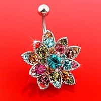 Genuine Swarovski Crystals Set Flower Hinged Barbell Dangle Belly Button Ring Navel Body Jewelry 14 Gauge B106: Jewelry: Amazon.com